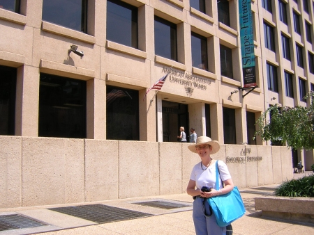 Nancy in front of the AAUW building