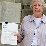 Mary Peterson with petitions