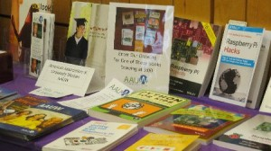 Books encouraging girls in STEM fields as well as AAUW materials.